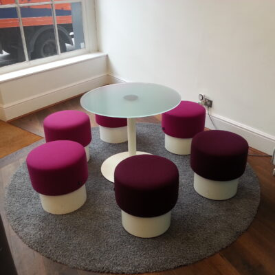 Set of fabric stools for upholstery cleaning